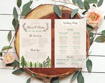 Rustic Programs • Trees Wedding Programs for a Forest Wedding • Printable or Printed