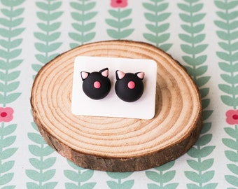 Handmade Polymer Clay Earrings: Crazy Cat Lady in Jet Black