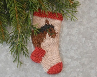 Horse Hand-Knit Christmas Stocking Ornament