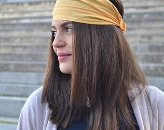 Gold Yellow Headband, Womens Headband, Workout Headband, Womens Turban, Running Headband, Elastic Headband, Womans Turban, Silk Linen Hair