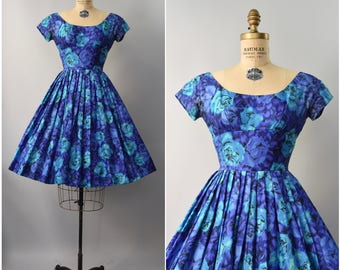 1950's silk blue rose floral dress •  small