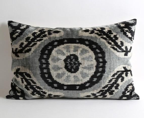 Pillow Lumbar 16x24 Velvet Ikat Pillow Cover Throw Pillows
