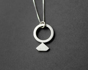 Handcrafted Diamond Ring Pendant Necklace - Sterling Silver - Ring Pendant