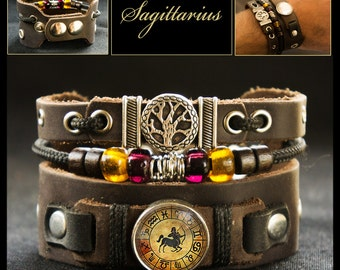 Sagittarius Bracelet Cuff with Tree of Life