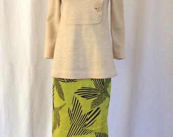 1960s Spanish Wool Sweater Nehru Collar Bib Front Sz. XS/S