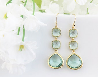 Long Bridesmaid Earrings, Aquamarine Gold Earrings, Mothers Day Gift, Wedding Earrings, Earrings for Mom, Bridesmaid Earrings, Gift for Her