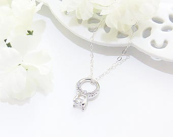 Tiny Engagement Ring, Engagement Ring Necklace, Ring Charm, Tiny Pendant, Engagement Gift, Wedding Gift, Gift for Bride, Wedding Anniversary