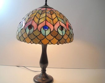 Peacock Stained Glass Table Lamp  Peacock Light