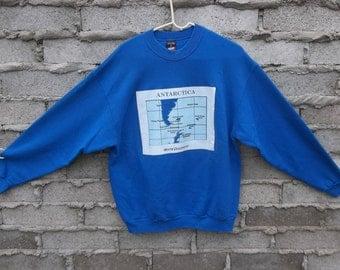 Vintage Sweatshirt Antartica 1980s World Traveller sz  Large Blue Hard to Find Retro Geography Discoverer South America Glacier Penguins