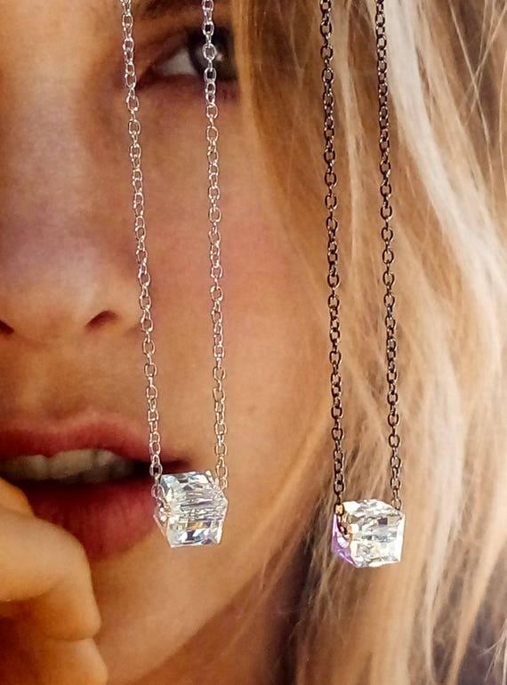 Swarovski crystal necklace, sterling silver 925 necklace with Swarovski crystal, Swarovski cube pendant necklace, crystal,bridesmaids gift