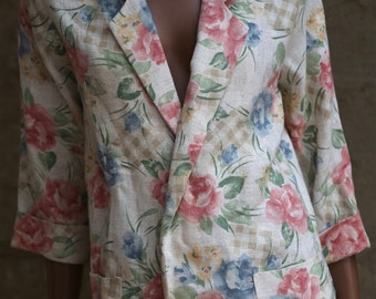 Vintage 90s Floral Blazer Women's Jacket 1990s Pastel Boho Bohemian Blazer