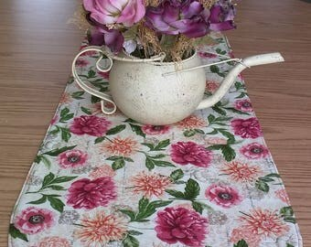 Floral Garden and Red Reversible Table Runner