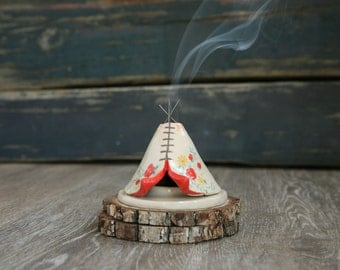 Incense Burner TeePee that smokes, Ceramic Floral Design, Native American Indian Aztec Design, Stoneware Clay Pottery, Unique Yogi Gift