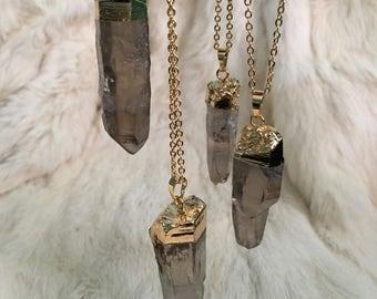Smokey Quartz Pendant Necklace Gold smokey natural quartz quartz pendant necklace jewelry Smokey Quartz Point Necklace Quartz boho Bohemian