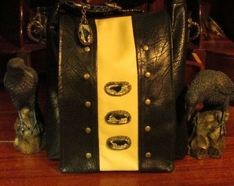 Black Raven  Messenger Shoulder Cross Body with Black Faux Leather Brass Studs and Cotton -- Lover of Aves