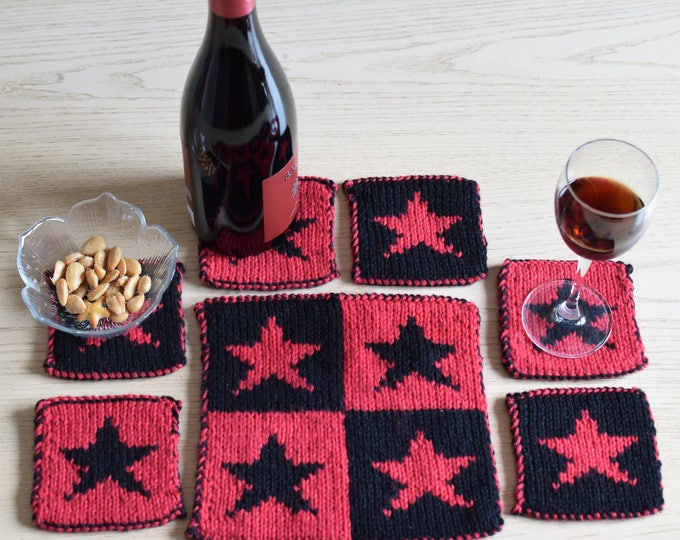 Knitting pattern for coasters, Star coasters and place setting pattern, knitting pattern table mat and coasters, handmade knitted gift