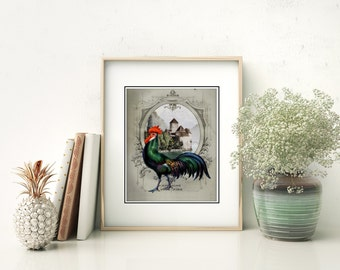 French Chateau Rooster Gray  II - Art Print, French Country Farmhouse Rooster Kitchen Decor, Dining Room Art, French Roosters Art, Lucky
