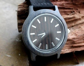 Wooden watch, quartz watch,unisex watch in dark brown -grey wood