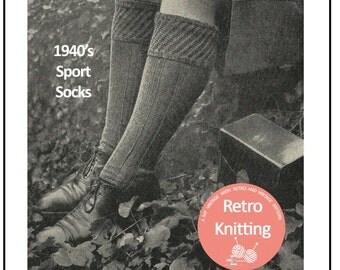 1940's Men's Knee Socks Knitting Pattern - PDF  Knitting Pattern - PDF Instant Download