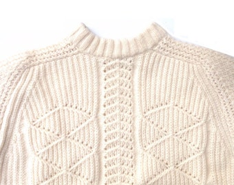"""Vintage Fisherman Jumper - 42"""" Chest - Cream Cable Knit - Aran Sweater - Lighthouse Keeper"""