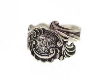 Vintage Silver Spoon Ring, 830 Silver TH Marthinsen Norway Spoon Ring