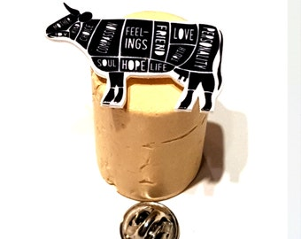 HANDMADE Pin HAPPY COW Badge, veggie vegan protest Animal Liberation vegetarian. compassion, pro life