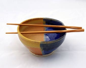 Chopstick Bowl, Carved Rim Design, Blue and Shino Glazes on White Stoneware Clay, Noodle bowl, Rice Bowl, High-Fire Stoneware