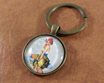 Pin-Up Girl, Kitschy Keychain, Pin-up Keychain