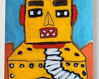 Just Say Yes! Vintage Robot Lilliput Original Art Postacrs