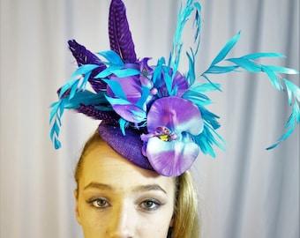 Custom Purple Turquoise Kentucky Derby Royal Ascot  Fascinator Hat Elastic Cord