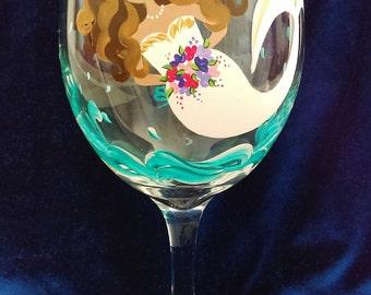 Mermaids, Bride wine glasses, Painted wine glasses, Bride, Bridal shower, Wine glasses, Painted glasses, Wedding wine glasses, Mermaid,20 oz