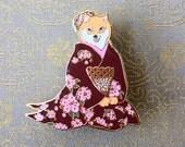 Shiba inue geisha pin Burgendy-shiba pin-shiba inu-dog enamel pin-burgendy pin-dog pin-geisha enamel pin-geisha brooch-dog brooch-dogs gift