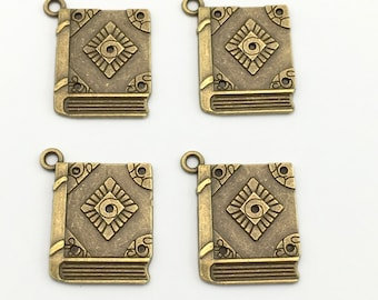 4 book charms bronze tone 23mm  #CH 405