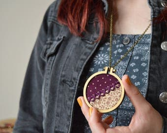Purple Necklace, Embroidery Hoop Necklace, Wooden Necklace, Polka Dot Necklace, Vintage Style Necklace, Embroidered Jewellery, Gift For Her