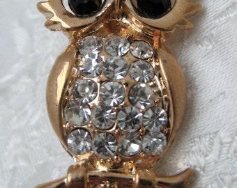 Vintage 1980s Goldtone & Diamante OWL Bird Brooch KITSCH Planet Earth