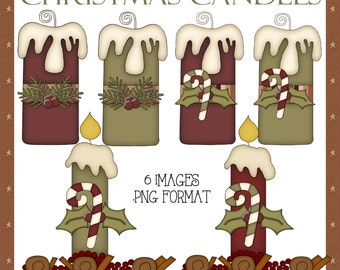 Christmas Candles - Prim Style Christmas Holiday Candle Images