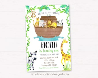 Noah's Ark Birthday party Invitation, party Animals Birthday Party, Digital file