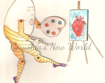 NEW - The Way He Sees The World - Articulated Paper Doll and Matching Print, Humpty Dumpty, art print, art doll