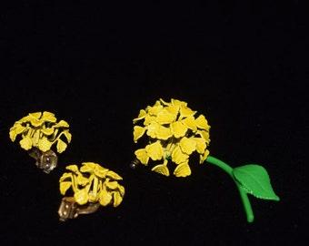 Yellow enamel flower pin brooch with clip-on earrings complete set