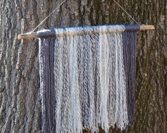 Modern Fiber Wall Hanging   Driftwood Yarn Wall Hanging   Boho Decor   Gray Yarn Tapestery   Boho Chic Decor