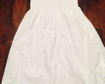 White Eyelet Little Girls Dress