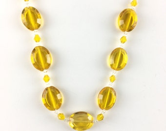 Vintage Czech Glass Beaded Necklace Bright Lemon Yellow Antique Cut Crystal Beads Necklace Spring Summer Estate Jewelry for Her