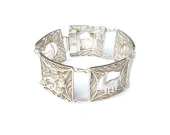 Filigranes sterling silver filigree bracelet Peru, Peruvian bracelet sterling silver