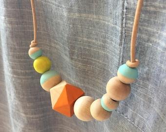 Wood bead necklace leather orange neon yellow light blue
