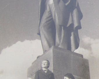 Vintage 1940's Me & Vlad Communists Visit Statue of Russian Leader Vladimir Lenin Snapshot Photo - Free Shipping