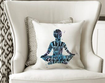 meditation pillow decorative pillows with words blue and purple pillow for bed meditation decor meditation