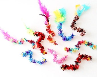 Squiggly Soft Cat Toys, Set of 3 Feather Cat Toys, Kitten Play, Optional Catnip & Valerian, Catnip Feathers, Birthday Gifts for Cat