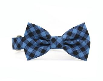 Buffalo Plaid Dog Bow Tie Collar Blue and Black Winter Gingham Check Checkered Boy Dog Bowtie Collar - Damian