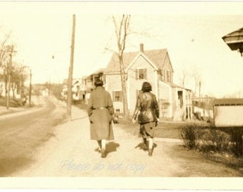 Vintage Snapshot Photo ~ a casual stroll  ~ arty composition