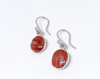 Silver Rustic Coral Dangle Earrings